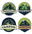 set mountain camping logo templates vector image vector image