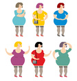 Set of women prostitutes lot of hilarious fat vector image vector image