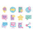 social networks cartoon comic icons collection vector image vector image