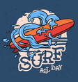 surfing surf themed longboard and stylized water vector image
