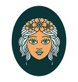 tattoo style icon a maiden with crown vector image vector image