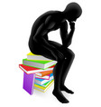 thinker thinking sitting on books vector image vector image