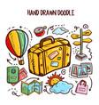 travel doodles art set vector image