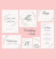 wedding suite collection card templates vector image