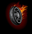 wheel in flame poster mock up template realisti vector image
