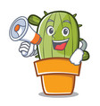 with megaphone cute cactus character cartoon vector image