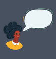 woman face and speech bubble on dark vector image vector image