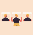 woman holding screens with different masks girl vector image