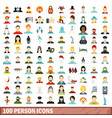 100 person icons set flat style vector image
