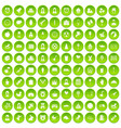 100 child center icons set green circle vector image vector image