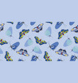 blue pattern with butterfly and cloud vector image vector image