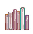 book stacked in bottom view in colorful silhouette vector image vector image