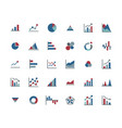 business graph flat icon set vector image
