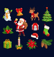 christmas characters and holiday icons vector image