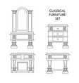 classical furniture set made in line style vector image