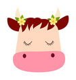 cute cartoon cow face with dreamy expression vector image vector image