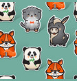 cute donkey fox cat and panda seamless vector image vector image