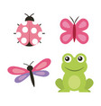 cute frog dragonfly butterfly ladybug vector image