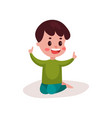 cute little boy sitting on the floor kid learning vector image vector image