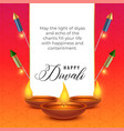 diwali festival wishes background with diya and vector image
