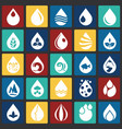 drop water icons set on color squares background vector image