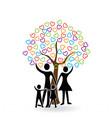 family and hearts tree icon logo symbol vector image vector image