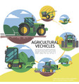 flat agricultural machinery round template vector image vector image