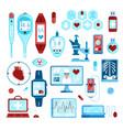 flat digital medicine icon set vector image