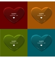 glass heart set on sample background vector image vector image