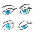 Graphic robot woman look eyes set vector image vector image