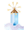 greek island windmill with sea waves vector image