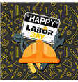 happy labor day wrench helmet background im vector image