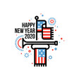 happy new year 2020 and american flag and bugle vector image