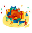 happy people carrying huge gift boxes pile of vector image vector image