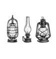 ink sketches kerosene lamps vector image vector image