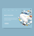 isometric education landing page concept vector image vector image