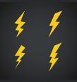 lightning icons set symbols set on dark vector image vector image