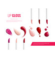 lip gloss smears color realistic banner vector image
