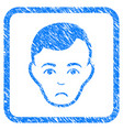 man face framed stamp vector image