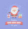merry christmas card with santa claus cute cartoon vector image vector image