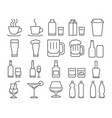 modern line style icons set 9 drinks beverages vector image