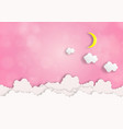 moon and clouds on the pink sky backgroundbokeh vector image vector image