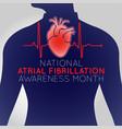 national atrial fibrillation awareness month logo vector image