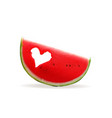 piece of watermelon with a hole in the heart vector image vector image