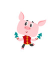 pig in chinese clothes with christmas tree vector image vector image