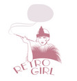 retro style emblem representing a flapper girl vector image vector image
