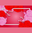rose flowers and frame on pink background with vector image
