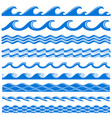 sea water waves seamless borders set vector image vector image