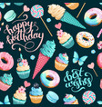 seamless pattern with cupcakes and donuts vector image