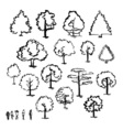 Set of hand drawn of trees Ink style vector image